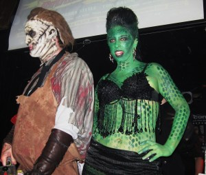 Contestants Leatherface and Lizard Girl